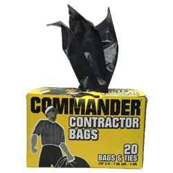 "HD CONTRACTOR CLEANUP BAGS 3mil 33""x48"" 40-45 GAL 20/box"