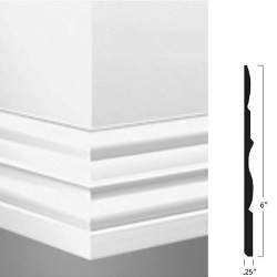 "JOHN MW-09-E CLAY 64 MILLWORK 6"" ATTACHE WALL BASE"