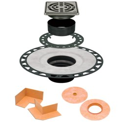 """SCHLUTER KD2/ABS/E10 KERDI-DRAIN 10pk 2"""" ABS 4"""" SQUARE GRATE STAINLESS STEEL"""