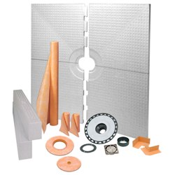 SCHLUTER KK183PVC-E KERDI SHOWER KIT 6'x6' STAINLESS STEEL - PVC