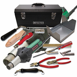 FISHMAN FFS-603 FLOOR WELDING KIT w/ LEISTER TRIAC ST HOT AIR WELDER INCLUDES WELDER, PENCIL TIP, 4mm NOZZLE, 5mm NOZZLE, SPECIAL FEED ROLLER, PULL GROOVER w/ BLADES, TRIM PLATE KNIFE, SPATULA KNIFE, SHARPENING PAD, RAM TOOL, CLEANING BRUSH,PLIERS, NIPPERS, TOOL REST WITH TRAY AND TOOL BOX