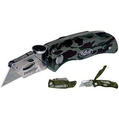 GUNDLACH 12131 LOCK-BACK CAMO UTILITY KNIFE w/ BLADE STORAGE (SHEFFIELD)